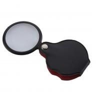 5X-50mm-Mini büyüteç,Cepte taşınan,optik lens katlanabilir deri kaplama-XX1051
