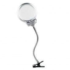 2.5X130 MM 5X24 MM LED Aydınlatmalı Büyüteç,Masa üstü Metal Hortum Mandallı-MG15124-C